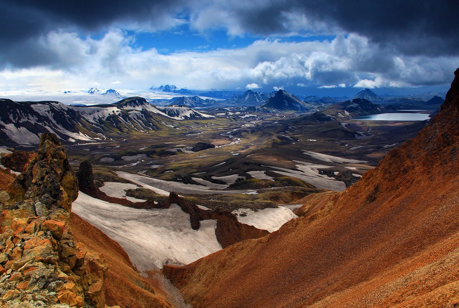 Myrdalskojull on trek from Landmannalaugar to Þórsmörk. There are huts, but you need to carry food, clothes, sleeping bag and camera gear for 4/5 days: ~35 lbs.