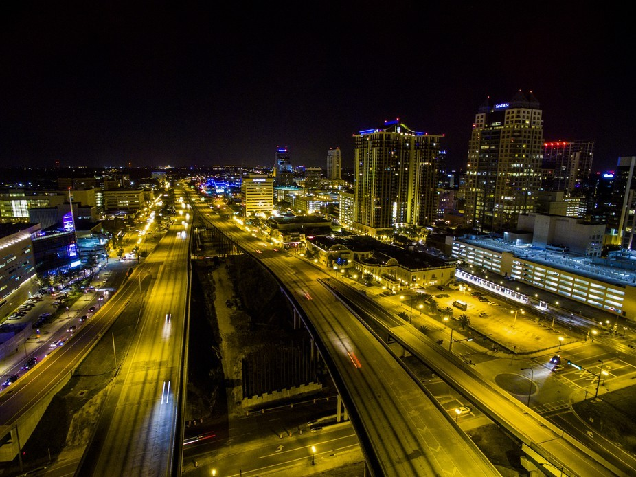 This photo was taken in the central florida / Orlando - area. You are looking at I-4 in the downt...