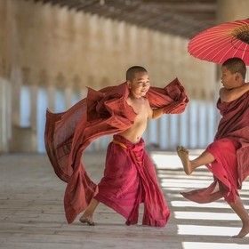 Young monks playing