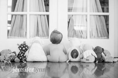 Baby Bum with Stuffed Animals