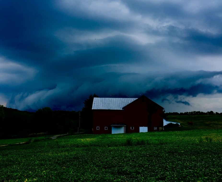 Storm rolling in on the farm