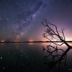Hey everyone,  Lake Weyba, Qld, Australia.  Here's number 3 on my top 10 list.  Shot this image of the Milky Way reflecting in the lake with...