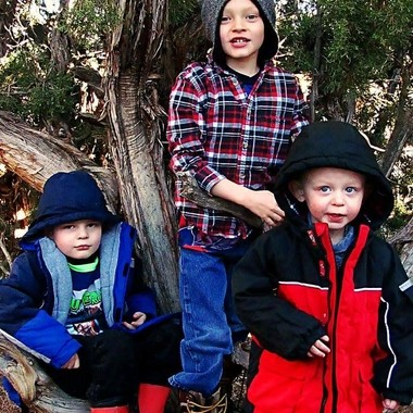 My three boys. Taken in our yard in Aztec, New Mexico on December 24, 2016.