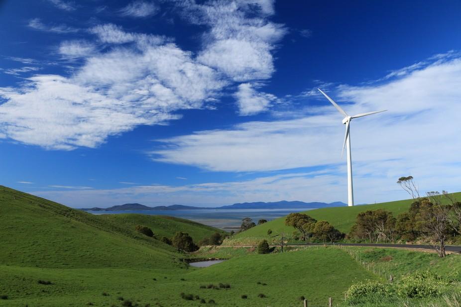 Wind farm near the coast between Melbourne and Sydney in Australia