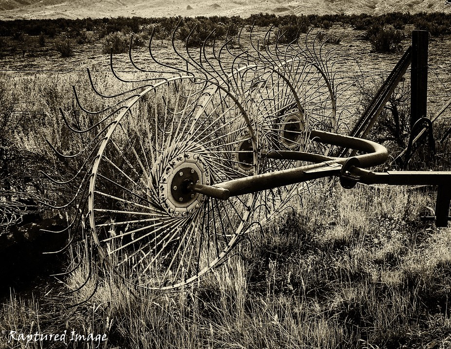 A cool looking farm implement for raking hay