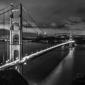 A view of the Golden Gate Bridge on a clear night as seen from Marin Headlands looking south/south east.  A rare clear evening in the bay area, a...