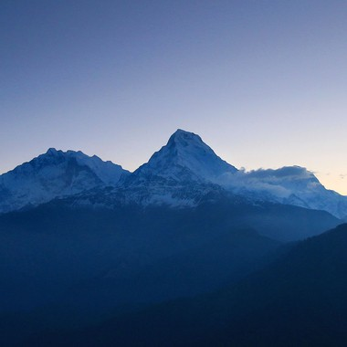 This was taken after climbing Poon Hill before dawn. From L-to-R there is Annapurna (8091 m), Annapurna South and Machhapuchhare (the Fish Tail).