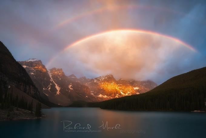 Moraine  lake  by markrichard - Rainbows Overhead Photo Contest
