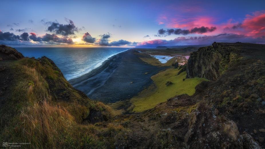 Sunset at Dyrhólaey, Iceland.