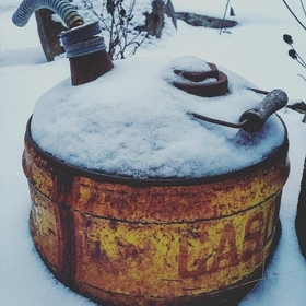 Snow covered Gas Can