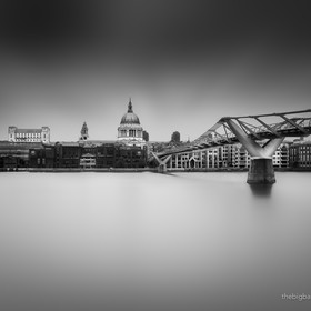 St. Paul's Cathedral, the Millenium Bridge and the Thames at high tide.  500px.com/thebigbadwolf www.thebigbadwolf.photography
