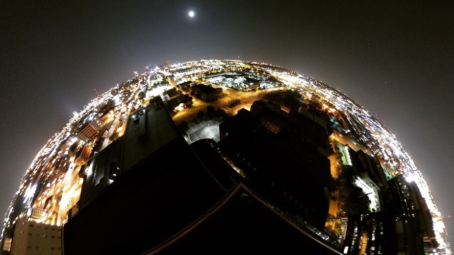 A night time rooftop capture taken with my Ricoh Theta 360 camera and segmented for this particul...