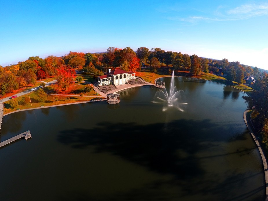 An overhead view of the boathouse showcasing the fall foliage