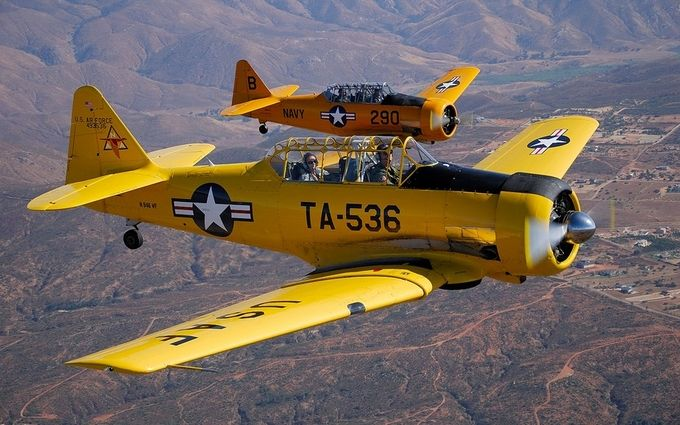 4-Ship Formation of T-6 Texans by markkrause - Above The Earth Photo Contest