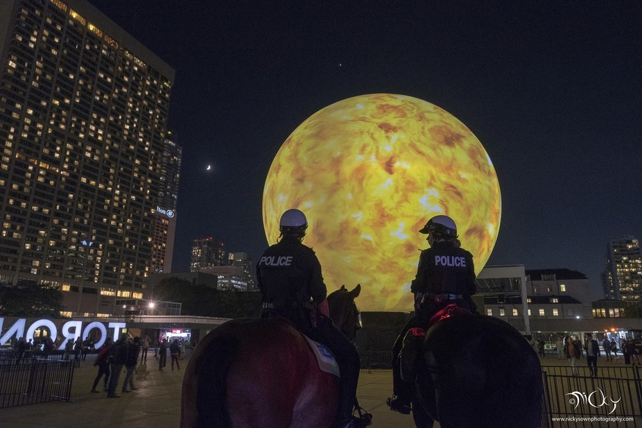 These two members of Canada's mounted police were on watch during the Nuit Blanche art e...