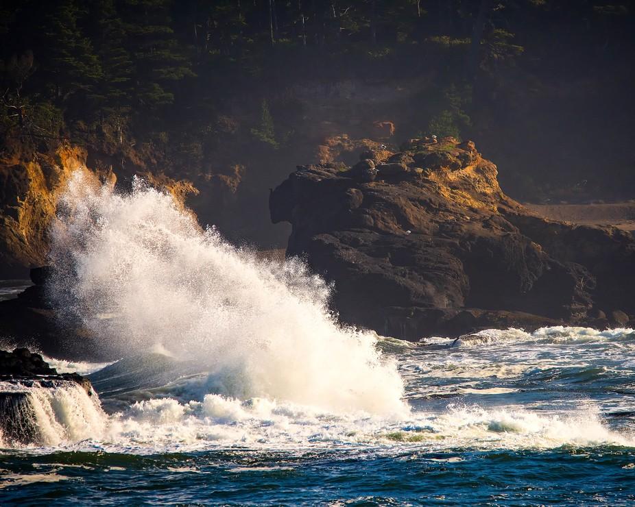 Sea Stack Crashing Wave