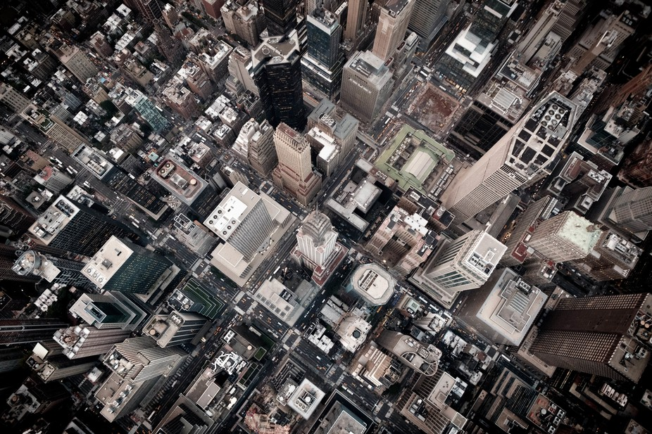 take from a helicopter, looking straight down