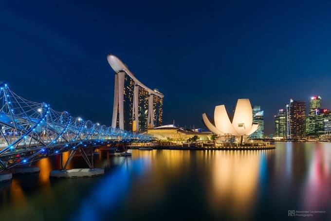 blue marina bay by alex_lauterbach - Spectacular Bridges Photo Contest