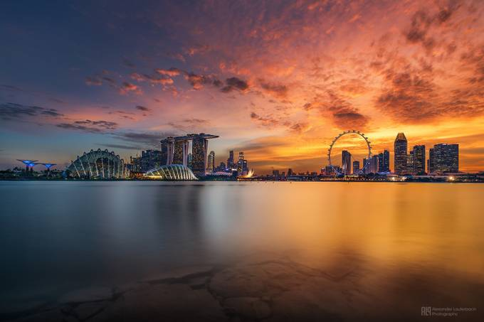 burning sunset over singapore by alex_lauterbach - Cities By The Water Photo Contest