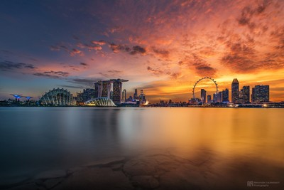 burning sunset over singapore