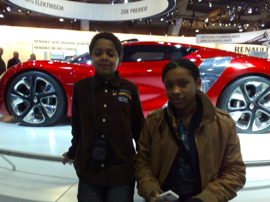 Rebecca and Noah at the car show
