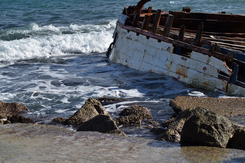 A ship wracked in Bbuga, Malta, due to the bad weather