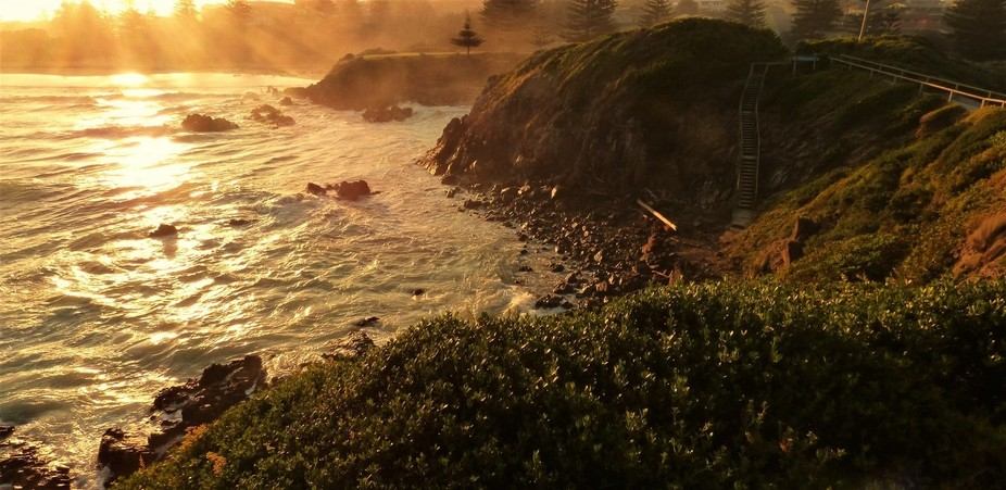 Looking from the lookout back towards the beach in the Golden Hour.
