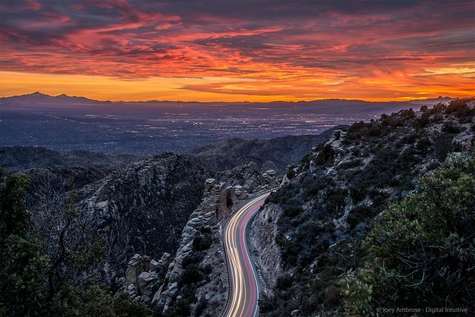 Sunset over Tucson, Arizona. Taken from Geology Vista on Mount Lemmon, just outside of Tucson. Ut...