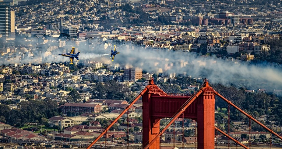 The Blue Angels perform their aerial acrobatics near the Golden Gate Bridge during San Francisco ...