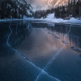 A cold winter morning on Dream Lake in Colorado's Rocky Mountain National Park.