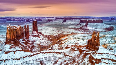 Snow in Monument Valley