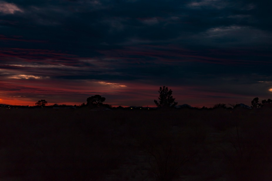 The final moments of a winter sunset over the Arizona desert.