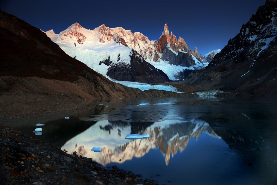 A second shot of Cerro Torre with less ice on the lake. I don't know which I like best...