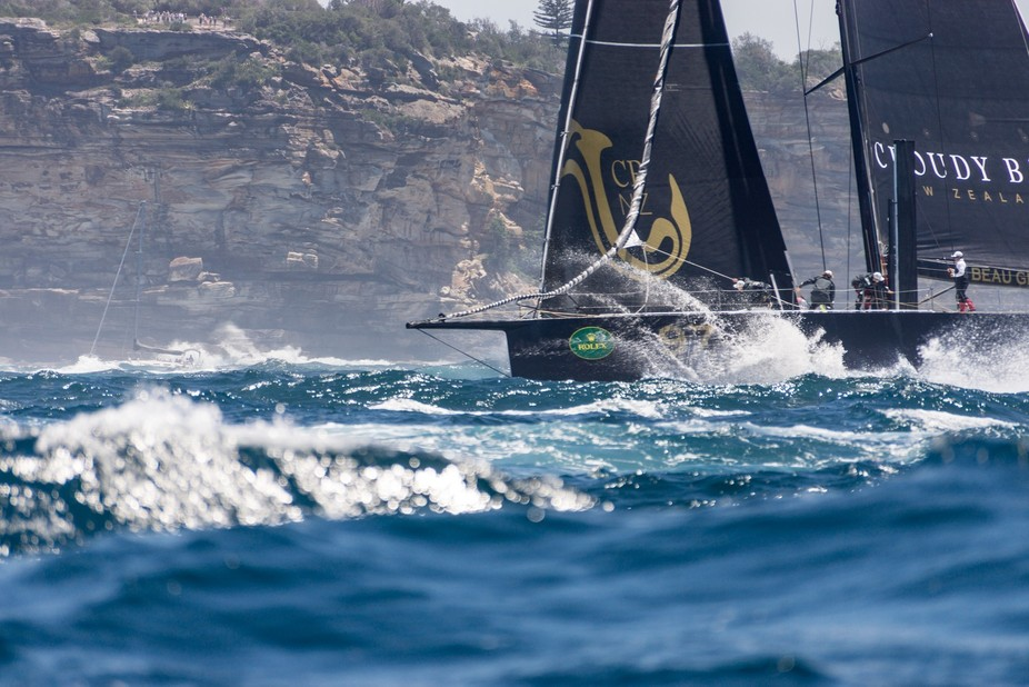 Action a plenty as the 2016 Rolex Sydney to Hobart yacht fleet exit Sydney harbour and turn for T...