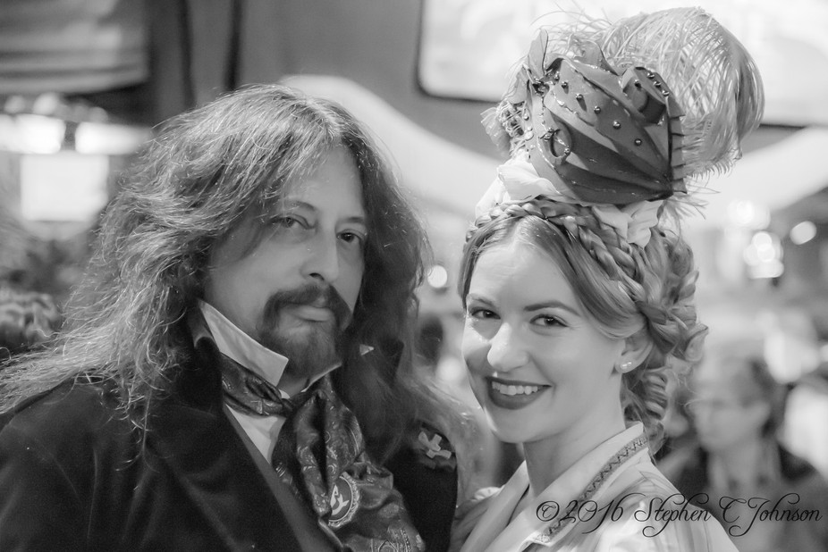 A pair of guests at the Annual Great Dickens Christmas Fair in San Francosco