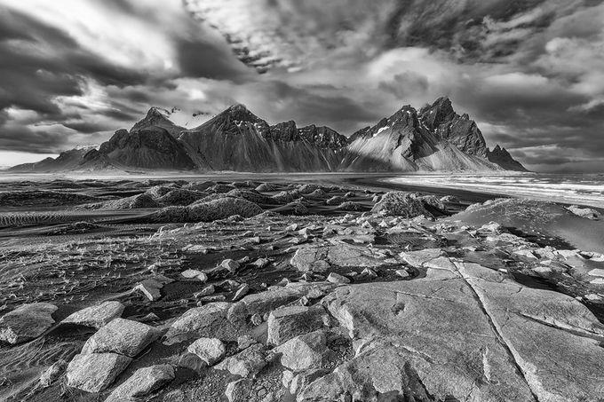 Vestrahorn bw by pietrorango - Black And White Mountain Peaks Photo Contest