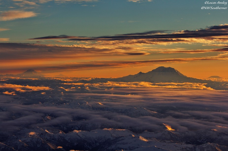 """All the highest peaks in this photo are volcanos on the """"Ring of Fire"""".  From l..."""