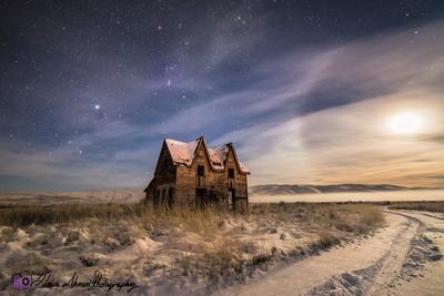 Gable House Snowy Night