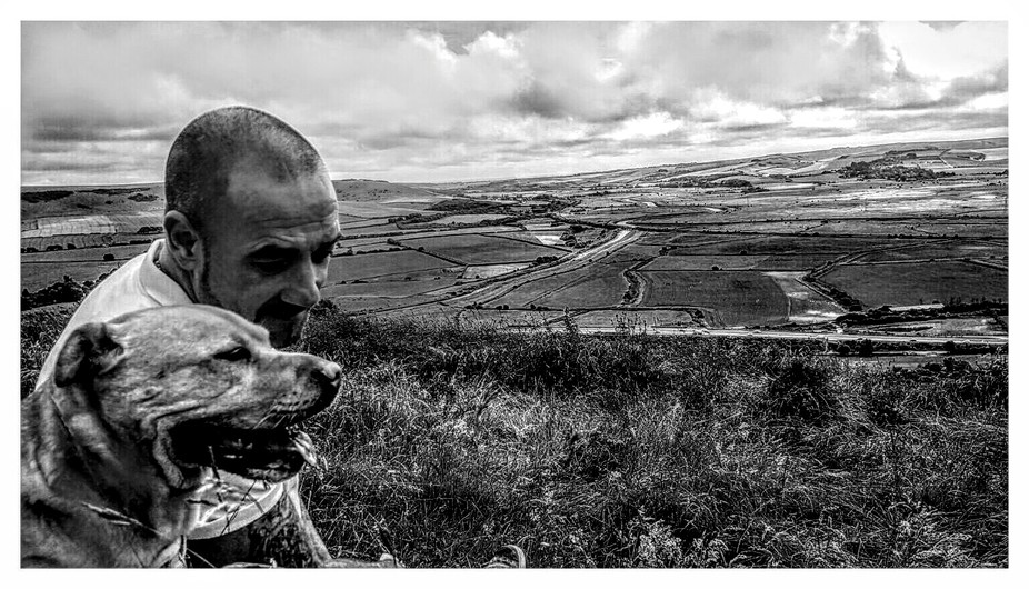 East Sussex downs land eingland, me and the pup on top of the world ????,