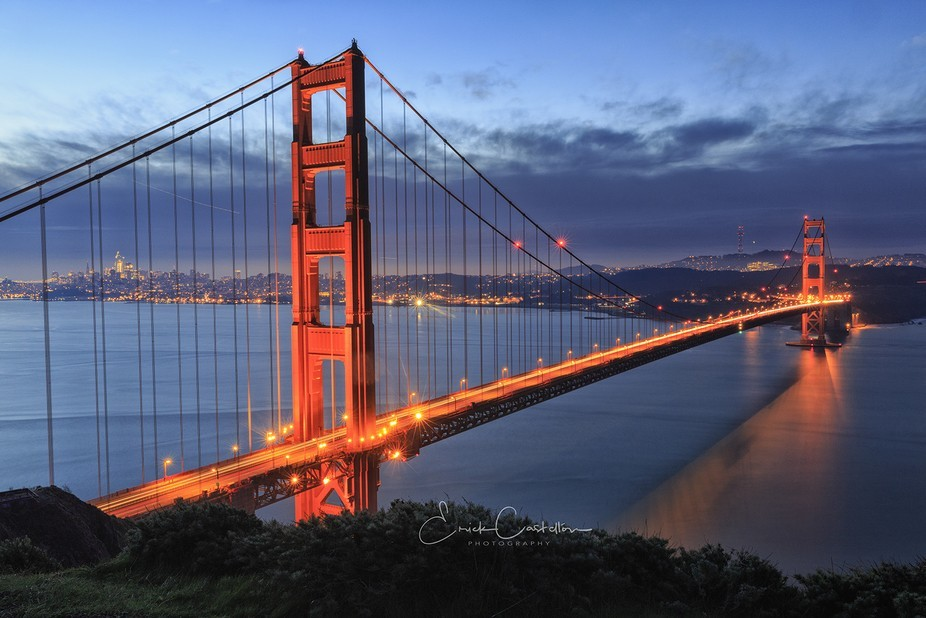 Golden Gate at blue hour before the rain comes