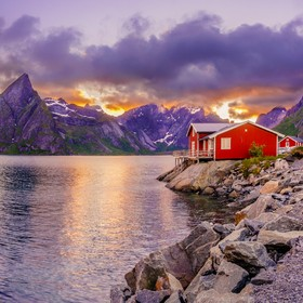 Midnight sun on the Lofoten Islands, Toppoya, Norway. The first day on the islands was pretty cloudy. I even thought there is no chance to see th...
