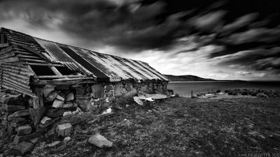 Abandoned boat shed