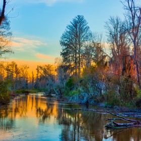 The sky and the trees alongside Butler Creek are bathed in a multitude of colors as the sun sets. (15 photos)