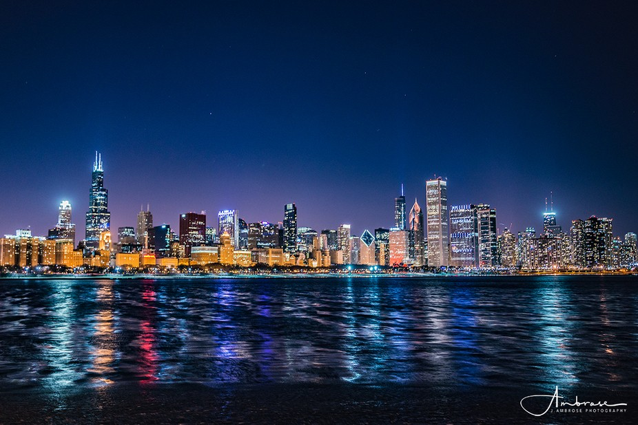 Long exposure of Downtown Chicago, Illinois. Taken in front of the Adler Planetarium.