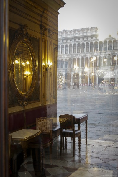 The reflection of San Marco in the windows of the famous Caffè Florian - Venice