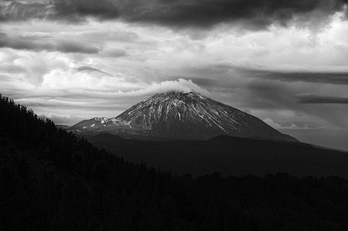 Snow on El Teide by jussikirjavainen - Black And White Mountain Peaks Photo Contest