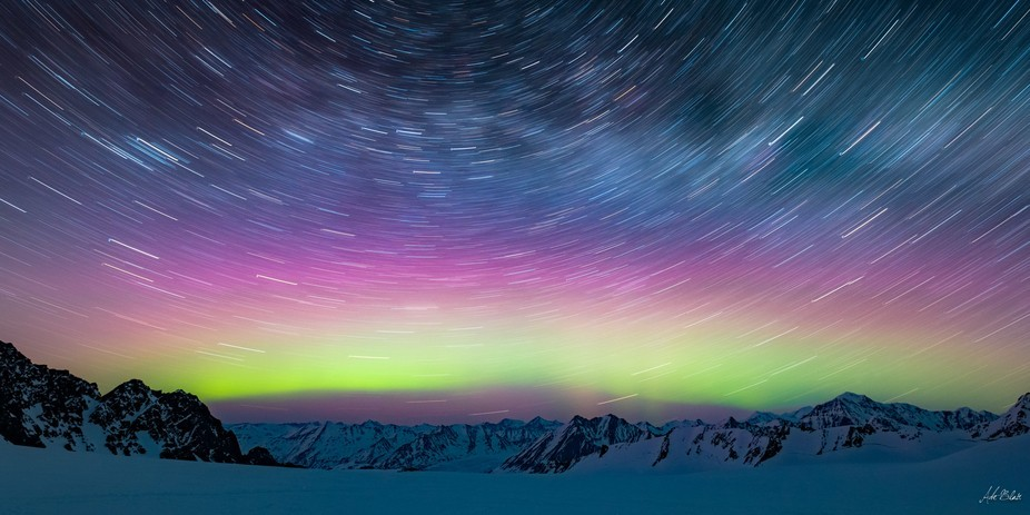 A 20 minutes exposure from deep in the Chugach Mountains of Alaska battling -20 temps while watch...