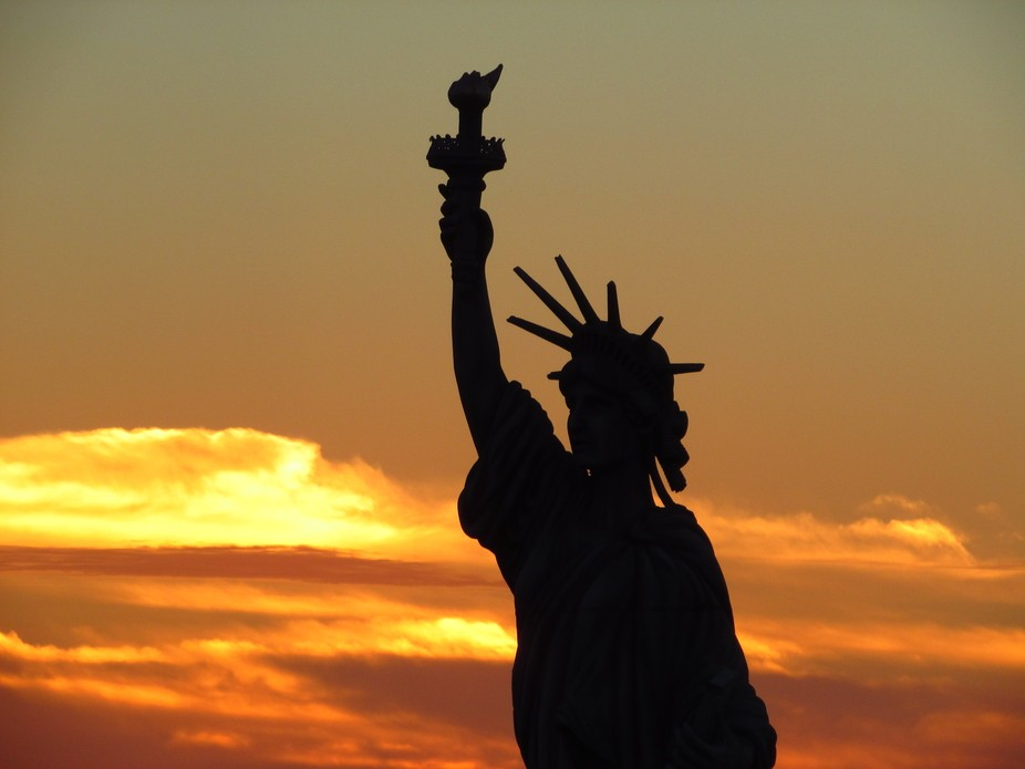 Although not the original statue of liberty, it is a beautiful replica at a chalk festival in Ven...