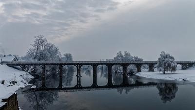 Wooden bridge on winter