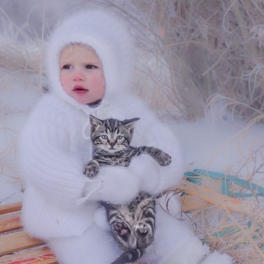 baby sitting on his sled holding a kitten.  Canada